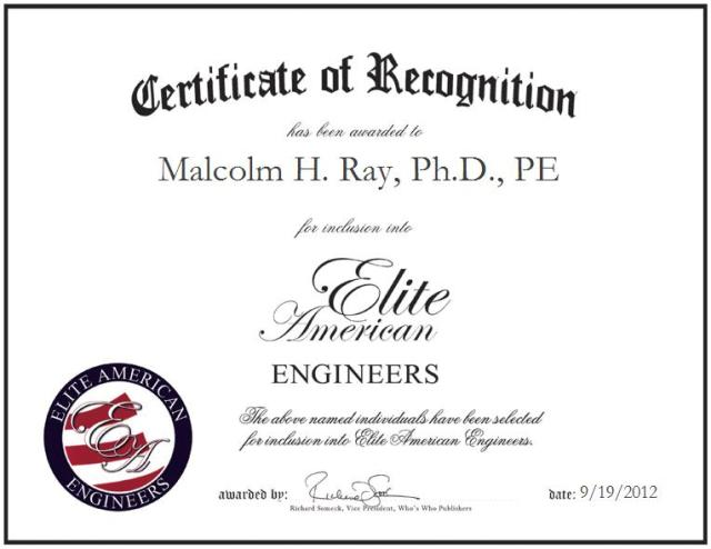 Malcolm H. Ray, Ph.D., PE