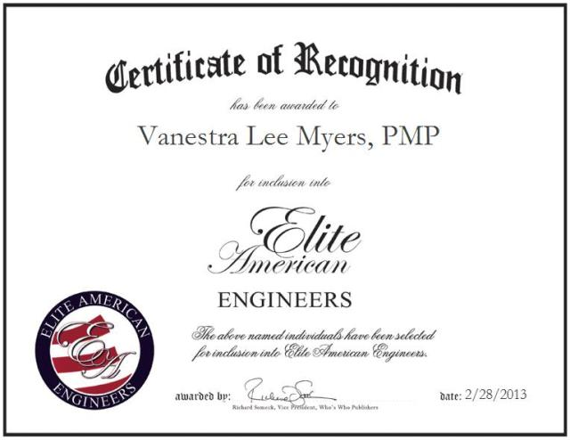 Vanestra Lee Myers, Engineer, PMP